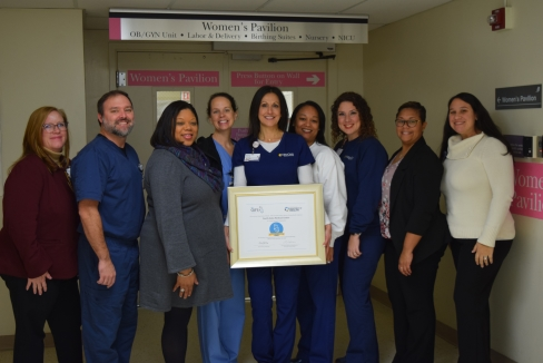 from left: Vice President of Patient Services Kirsten Riney, Lead Neonatal Nurse Practitioner Scott Landry, Magnolia Obstetrics & Gynecology Practice Manager Nikki Norman, Dr. April Sandifer of Magnolia Obstetrics & Gynecology, Lactation Registered Nurse Tasha Daniel, Children's Services Clinical Manager Tamara Mitchell, Women's Services Clinical Manager Holly Myers, Vice President of Clinics Kanna Page and Market Strategist/Business Development Representative Tiffany Harvey-Gautier.